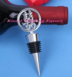 $enCountryForm.capitalKeyWord NZ - (10 Pcs lot) Wedding and Bridal showers Red Double Happiness Bottle Wine Stopper Favors For Chinese Wedding and Party Game gift