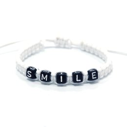 1pcs Funny White Cord with Black Beaded SMILE Charm Bracelets Adjust Size  for Women Men Friends Infinity Wish Jewelry Gift Decor 5aa083380cf0