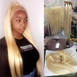 $enCountryForm.capitalKeyWord Australia - Blonde hair 3 Bundles with Frontal Closure #613 blonde Silk Straight Hair Bundles and Lace Frontal