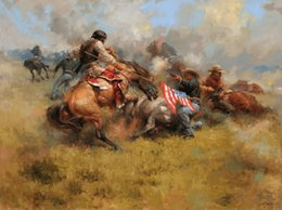 Painting horses modern art online shopping - Thomas Landscape Oil Painting American West cowboy Art HD Print on Canvas Modern Wall Art Home office Decor Horse Picture NZ21