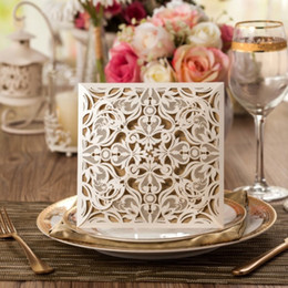 Lace invitation card designs online shopping - Four Folded New design Laser Cut Luxury Wedding Invitation Cards Hollow Lace Flora Flower Party Invite Friend Cards with Envelopes