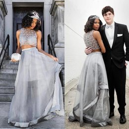 Dark green crop top online shopping - 2018 Graduation Dresses Two Pieces Silver Beaded Crop Top A Line Long Prom Gowns Pearls Evening Gowns