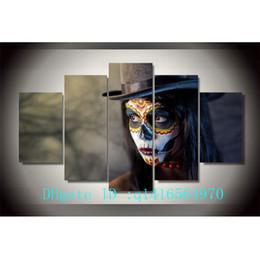 $enCountryForm.capitalKeyWord Australia - Day of The Dead Face,5 Pieces Canvas Prints Wall Art Oil Painting Home Decor  (Unframed Framed)