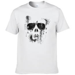 boys summer skull t shirts 2019 - Skull T Shirt Men Printed Hip Hop Men's T shirts Boys Summer Cotton Shirt Short Sleeve O-neck 2017 Fashion Tees #18
