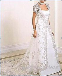 Опт Плюс размер !! Белый длинный рукав кружева пальто / обертывания / куртки V-образным вырезом невесты свадебные кружевные пальто с поездом
