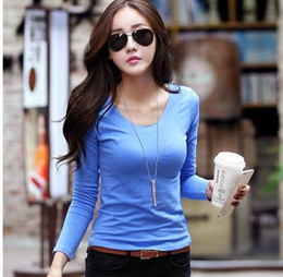 $enCountryForm.capitalKeyWord NZ - Solid color long-sleeve T-shirt for women 2018-fall south Korean version of the commuting slim body tight shirt simple v-neck cotton jersey