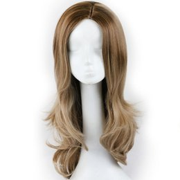 China Synthetic Brown Ombre Wig for Black Women Long Wavy Ombre Synthetic Hair Full Wigs African American Wigs for Cosplay Party supplier african american full wigs suppliers