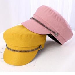 Riding oveRalls online shopping - autumn winter hat Metal button cap punk style flat top cap student duck tongue beret overalls hat riding