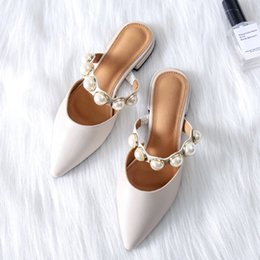 Flat black pearl online shopping - Boussac Pearl Flats Shoes for Women  Pointed Toe Elegant Women 4e2b9381e211