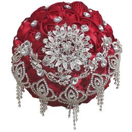 18CM Люкс Rhinestone Burgundy Mariage Свадебные букеты Искусственные цветы Свадебные букеты Рамос-де-Новия Букет-букет на Распродаже