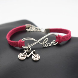 $enCountryForm.capitalKeyWord Australia - Vintage Rose Red Leather Suede Rope Wrap Cuff Bracelet for Women Men Silver Infinity Love Bike Cycling Bicycle Charm Jewelry Valentines Gift