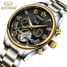 fly business UK - KINYUED Skeleton Automatic Flying Steel Strap Men's Business Mechanical Watch Self Winding Horloges with Gifts Box