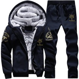 $enCountryForm.capitalKeyWord NZ - New Men Tracksuit Set Winter Fleece Hood Jacket+Pants Sweatshirts 2 Piece Set Hoodies Sporting Suit Coat SportSet Sportswear 4xl