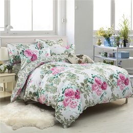 Discount pink floral full size bedding - Sookie Floral Print Bedding Set Twin Full Queen King Size Duvet Cover Sets Pastoral Style Bedclothes 3pcs Soft Bed Linen