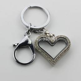Discount wholesale float ring - Alloy crystal rhinestone heart magnetic floating locket key rings keychains KEY036