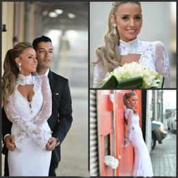 $enCountryForm.capitalKeyWord Australia - Elegant High Neck Lace Wedding Dresses Mermaid Long Sleeve Backless Floor Length Bridal Gowns Vestido De Noiva Sereia Com Manga 2018