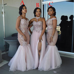 Champagne mermaid style prom dresses online shopping - Mixed Style Long Bridesmaid Dresses Floor Length Appliques Sash long Prom Dress Lace Nigerian formal Maid of Honor Gowns plus size