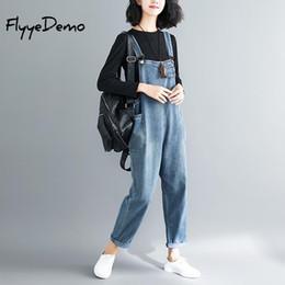 $enCountryForm.capitalKeyWord Australia - Big Size Loose Denim Jumpsuit Overalls 2018 Autumn Blue Strap Ripped Pockets Full Length Denim Jeans Jumpsuit High Quality