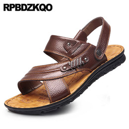 Shoes Leather Mens Sandals 2018 Summer Outdoor Sport Fashion Rivet Slides  Native Stud Water Sneakers Breathable Slippers Brown 9a2c80e750b0