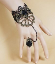 $enCountryForm.capitalKeyWord Australia - Hot style Black lace goth vampire rose bracelet with ring in one chain fashion classic delicate elegance