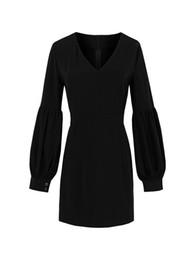 9aa151491e48 Girl black Gothic dress mini Sexy V Neck Women short Dresses Autumn long  sleeve lentern sleeve Vestidos Gothic Dress