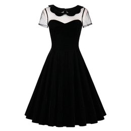 $enCountryForm.capitalKeyWord UK - X907Sisjuly 2018 Summer Female Party Dress Solid Black Dresses Sexy Hollow Out Vintage Gothic Dress Summer Peter Pan Collar Dresses