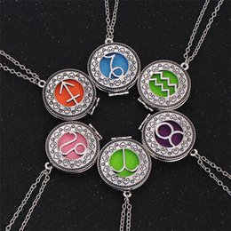 $enCountryForm.capitalKeyWord NZ - 12 Constellation Premium Aromatherapy Essential Oil Diffuser Necklace Locket Pendant Stainless Steel Jewelry with Chain & free Washable Pads