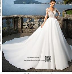Ingrosso Abito da sposa arabo elegante abito da sposa con maniche lunghe, abiti da sposa 2017 Vestido de Noiva Princesa Manga Longa Abiti da sposa sexy