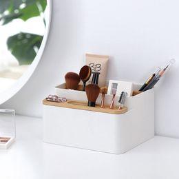 Desk Accessories & Organizer Pen Holders Stick On Desktop Makeup Storage Pen Holder Plastic Desk Organizer Stationery Clear-Cut Texture