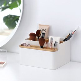 Stationery NZ - Multi-functional Desk Organizer Plastic Storage Box with Bamboo Compartment for Office Home Stationery Cosmetics Makeup Brushes
