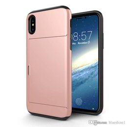 Luxury Credit Card Iphone Australia - New Iphone XS Luxury Layer Armor Shockproof Silicone TPU Back Cover For iphone XS Slide Wallet Credit Card Slot Case For iPhoneX 5.8 inch