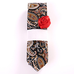 Skinny tie paiSley online shopping - Mogless New Retro Pesley cm Cotton Floral Tie Men s Groom Navy Blue Slim Tie Fashion Casual Business Accessories Tie