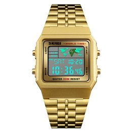 China SKMEI Luxuly Mens Digital LED Watch Gold Golden Digital Watches Stainless Steel Top Brand Relogio Masculino Saatler Male Clock 1338 cheap skmei watches suppliers