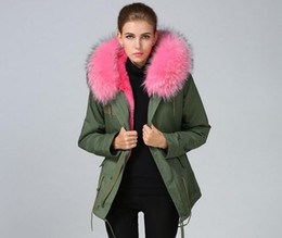 pink fur parka Australia - Meifeng Brand Lavish furs jackets pink rabbit fur lining army green canvas mini parkas winter coats with pink raccoon fur trim