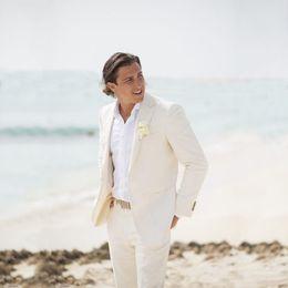 Suits Linen Canada - Ivory Linen Summer Beach Wedding Suits for Men Tuxedo Groom Wear Party Best Man Blazer Groomsmen Jacket 2Pieces Latest Coat Pants Designs