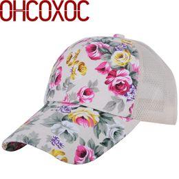 b19b46811b0 women new summer hat casual floral cap Cotton with linen print flower  pattern mesh cool style female girl beautiful baseball cap