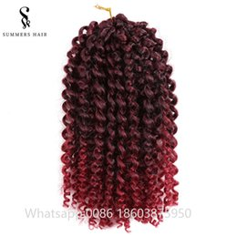 $enCountryForm.capitalKeyWord Australia - Ombre Mali Bob Synthetic Braiding Crochet Braids Hair Kanekalon Hair Extensions Water Wave Freetress Hair 3pcs pack