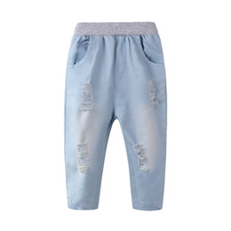 $enCountryForm.capitalKeyWord UK - Hot! OUTAD Baby Kids Pants Trousers Clothes New Casual Ripped Denim Jeans Elastic Waist Long Pants for Children Clothing
