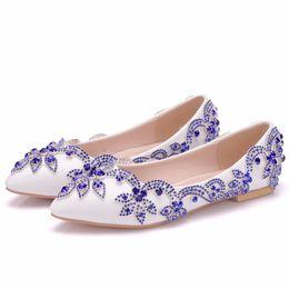 $enCountryForm.capitalKeyWord NZ - New Beautiful White Color Women Flats blue rhinestone Pointed Toe Flats elegant bride Wedding Shoes Plus Size beautiful crystal flats