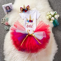 $enCountryForm.capitalKeyWord NZ - Fancy Baby Girls Unicornio Costume Outfits Kids 1st Birthday Suits Toddler Fancy Sets 2018 Infant Kids Party Gowns For Girls Christening