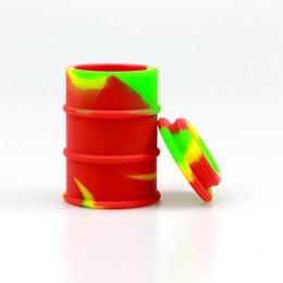$enCountryForm.capitalKeyWord Australia - Top quality 26ml Large Food Grade Silicone Oil Barrel wax Container Oil Jar Base Silver Dab Dabber Tool Metal Box Case Portable