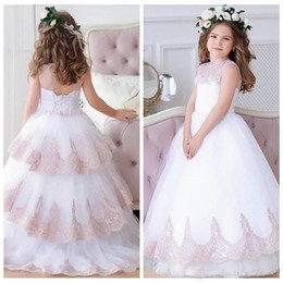 flower child prom dresses 2019 - 2019 Sheer O-Neck Lace Appliques Flower Girls Dress Princess Pageant Wedding Party Gowns Kids Prom Gown Children Dress d