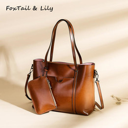 small wax bags 2019 - FoxTail & Lily Women Oil Wax Leather Handbags Ladies Vintage Shoulder Bags Large Capacity Tote Crossbody Bags with Small