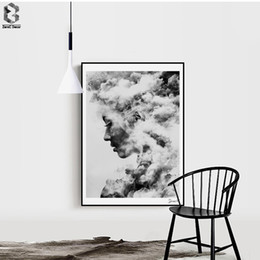 Modern abstract wall art black white online shopping - Modern Girl Portrait Canvas Art Posters and Prints Painting Black White Wall Pictures for Home Decoration Wall Decor