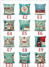 christmas design case 2019 - 130 styles Christmas New Year pillowcase Linen fiber material pillow case Snowflake Santa Claus Christmas designs sofa c