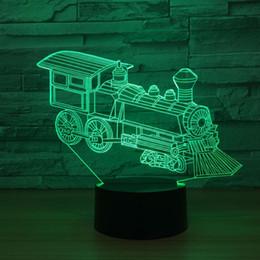 lamp training 2018 - Train Engine 3D Optical Illusion Lamp Night Light DC 5V USB Powered AA Battery Wholesale Dropshipping Free Shipping chea
