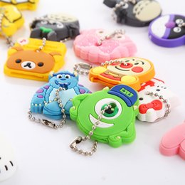 Wholesale New Set Cartoon Cute Key Cover Anime Bear Hello Kitty Totoro Silicone Key Chains Melody Animal Car Key Rings Keychain