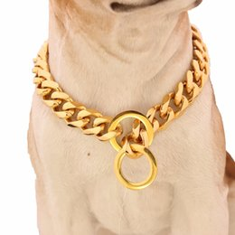 $enCountryForm.capitalKeyWord Canada - 12-32 Inch Long 316L Stainless Steel Gold Tone Curb Cuban Link Chain Dog Pet Chain Collar Slip Dog Collar 17mm Wide