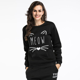 floral sweatshirts for women UK - Cute Women Hoodies Pullover Autumn Coat Winter Loose Sweatshirt Female Pullovers for girls cat and letter print round neck BM074