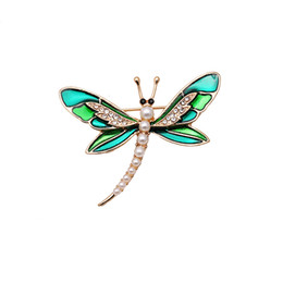 New arrival gift pin brooch Fashion green enamel dragonfly rhinestone  imitation pearls Brooches jewelry Accessories for women 1510653192cc